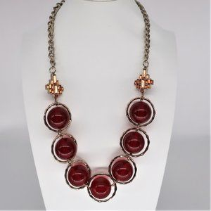 Coldwater Creek Large Deep Red Spherical Necklace